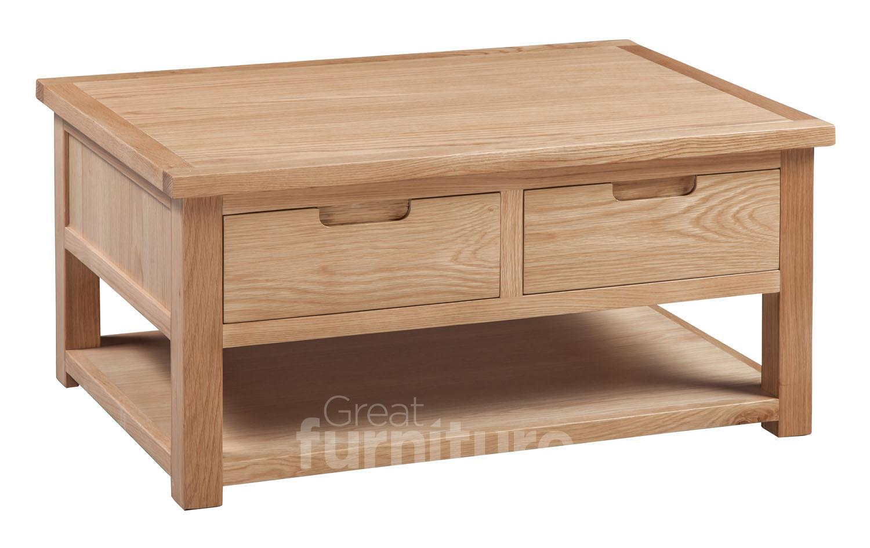 Melrose Oak 2 Drawer Coffee Table