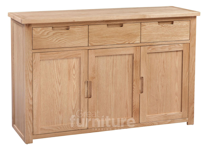 Melrose Oak 3 Door 3 Drawer Sideboard