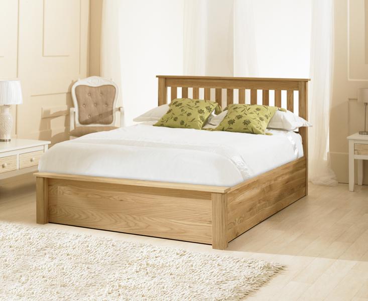 Monaco Solid Oak Ottoman King Size Bed