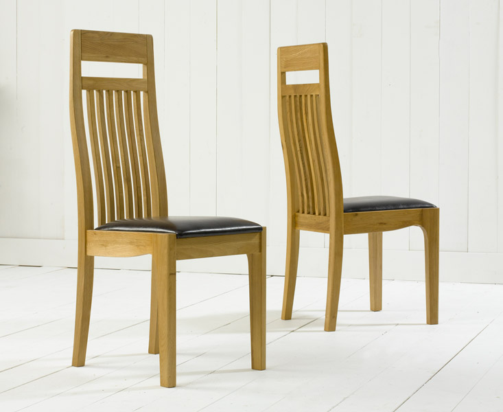 Monaco Solid Oak Brown Dining Chairs (Pair)