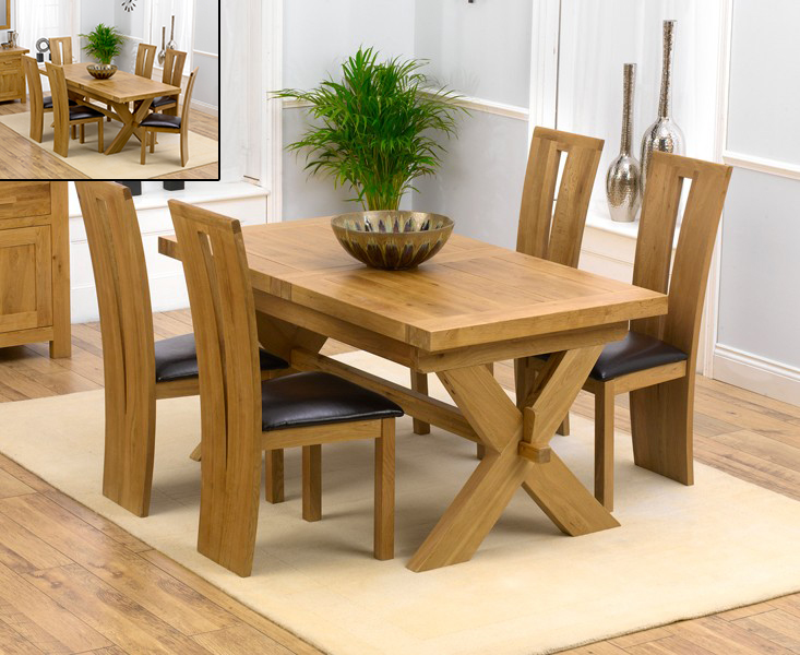 Bordeaux 160cm solid oak extending dining table with for M furniture montreal