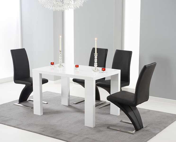 Monza 150cm White High Gloss Dining Table with Hampstead Z Chairs