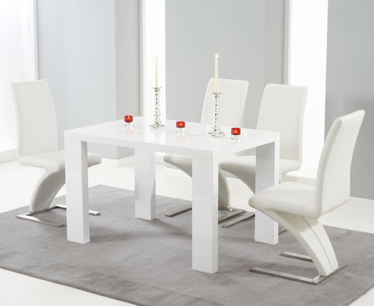 Monza 120cm White High Gloss Dining Table with Hampstead Z Chairs