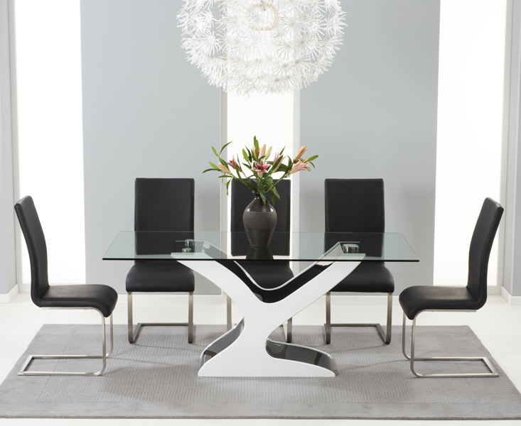 Nevada 180cm Black and White High Gloss and Glass Dining Table with Malaga Chairs