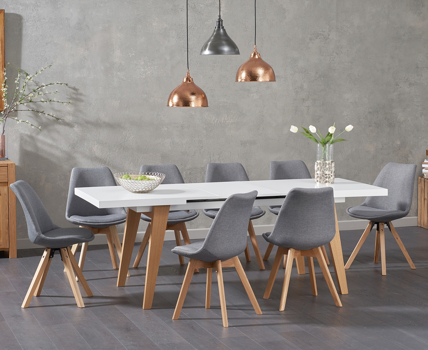 Nicole Extending White Dining Table with Demi Faux Leather Chairs
