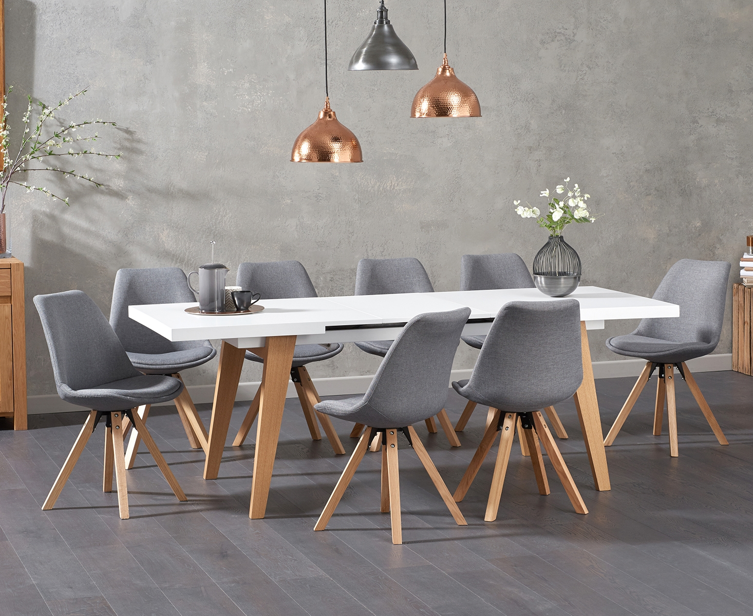 Nicole Extending White Dining Table with Ophelia Fabric Square Leg Chairs