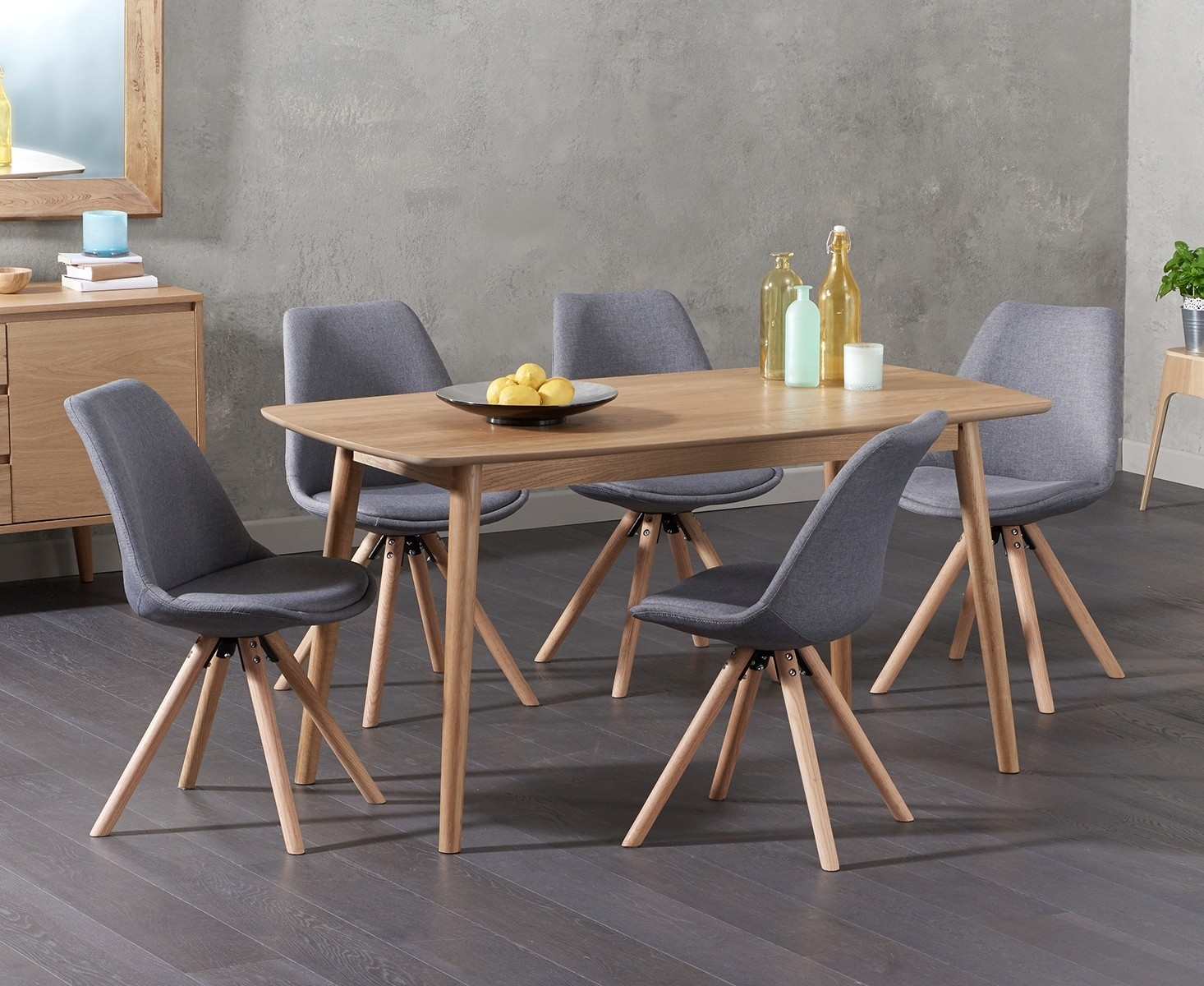 Newark 150cm Oak Dining Table with Ophelia Round Leg Fabric Chairs