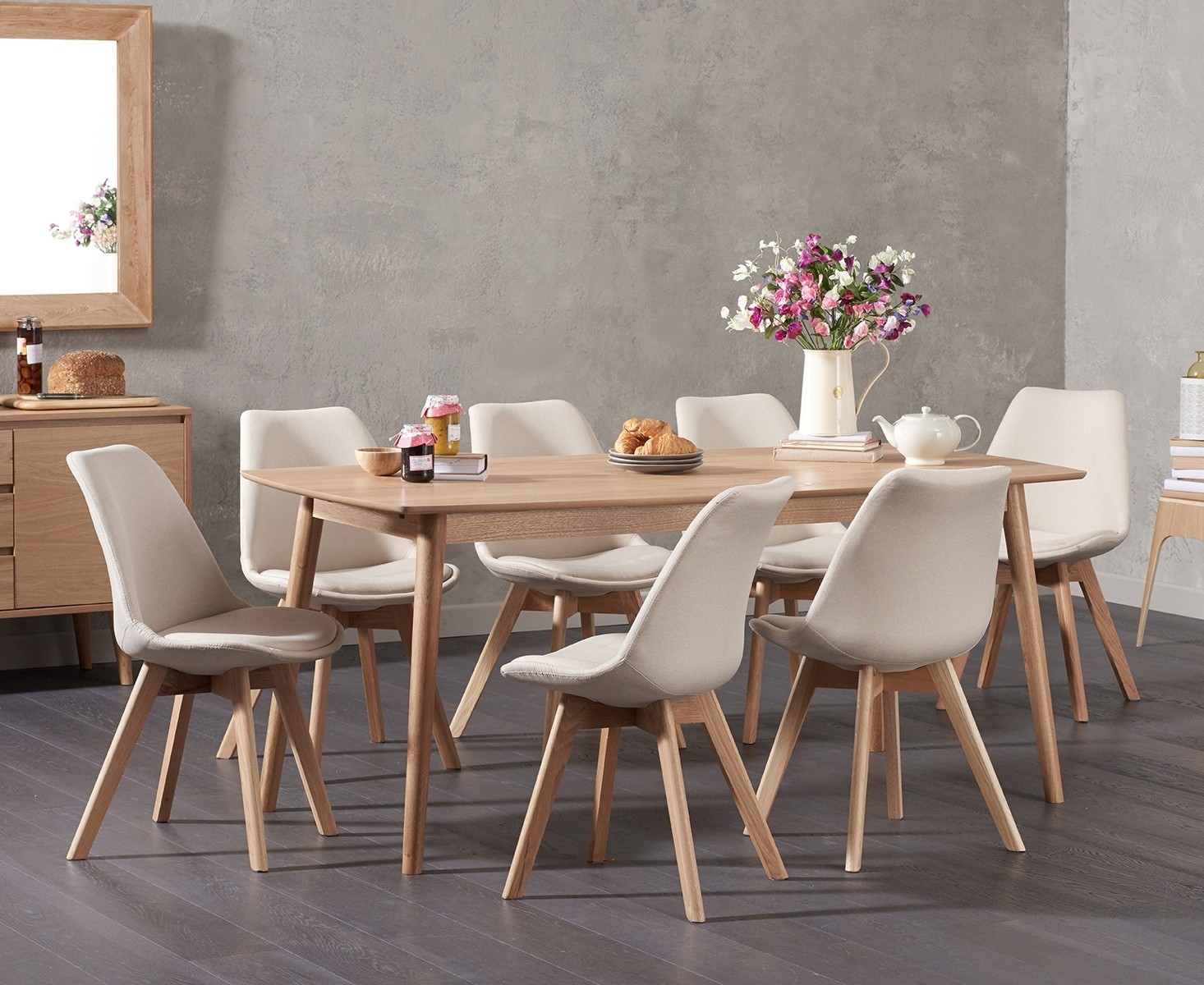 Newark 180cm Oak Dining Table with Demi Fabric Chairs