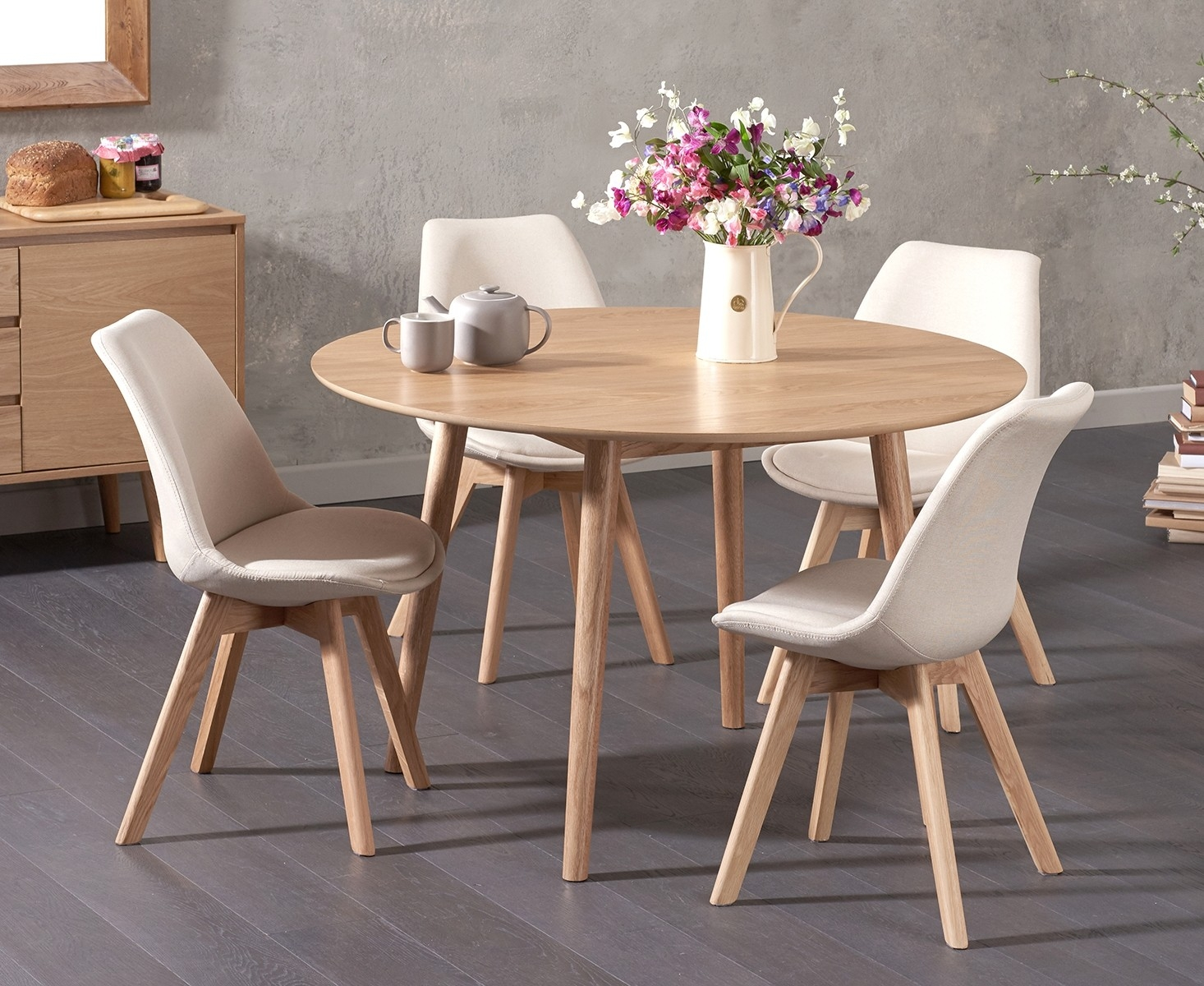Newark 120cm Oak Dining Table with Demi Fabric Chairs