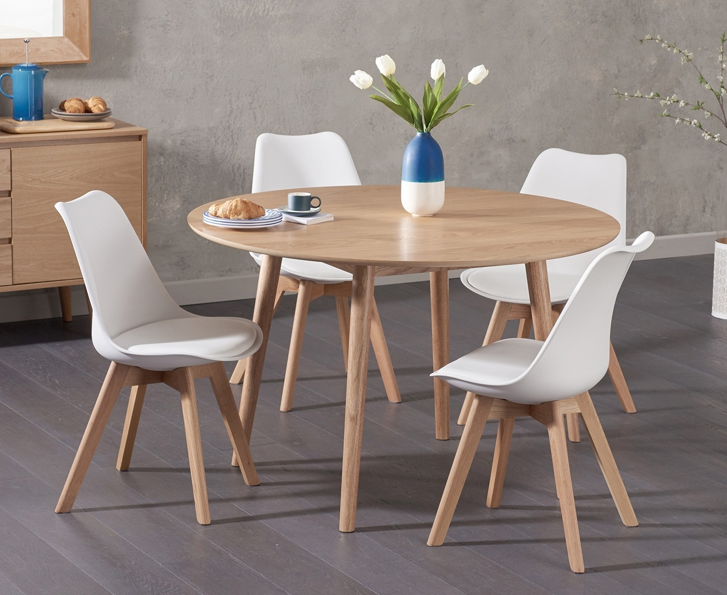 Newark 120cm Oak Dining Table with Demi Faux Leather Chairs