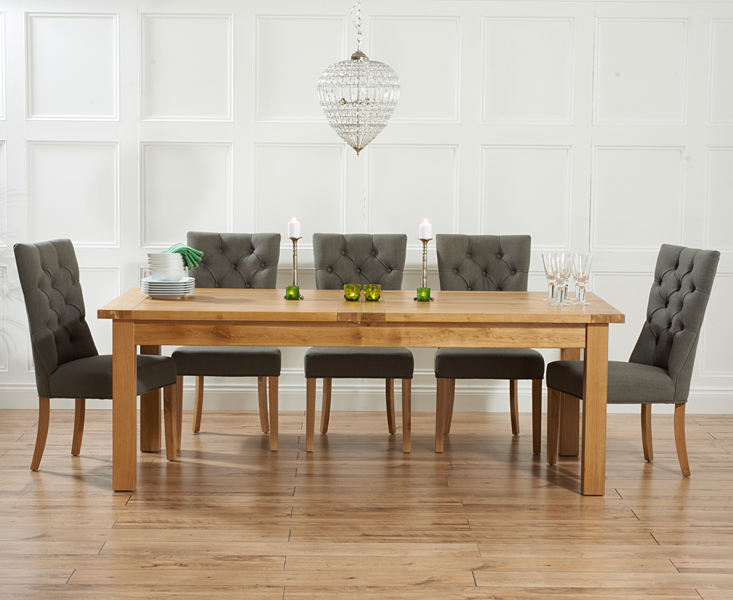 Rustique 220cm Solid Oak Extending Dining Table with Anais Fabric Chairs