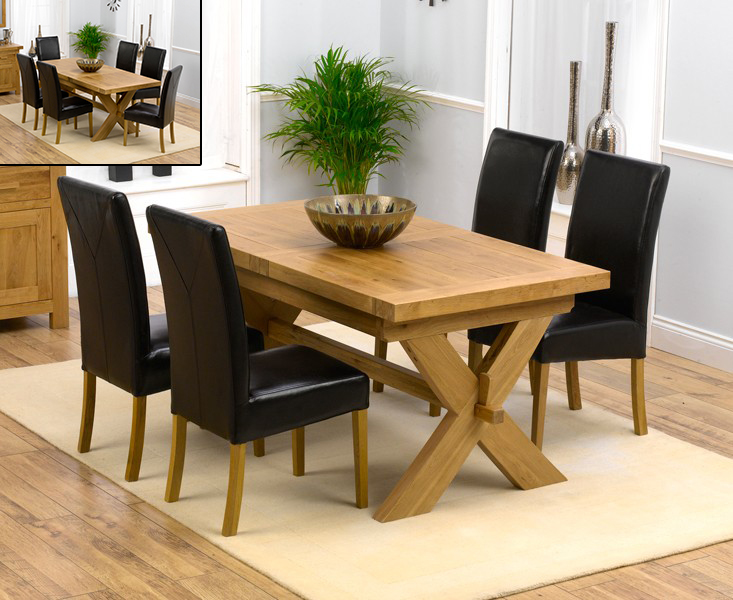 Bordeaux 160cm Solid Oak Extending Dining Table with Rustique Chairs