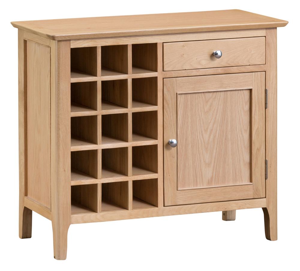 Product photograph showing Suri Oak Wine Cabinet