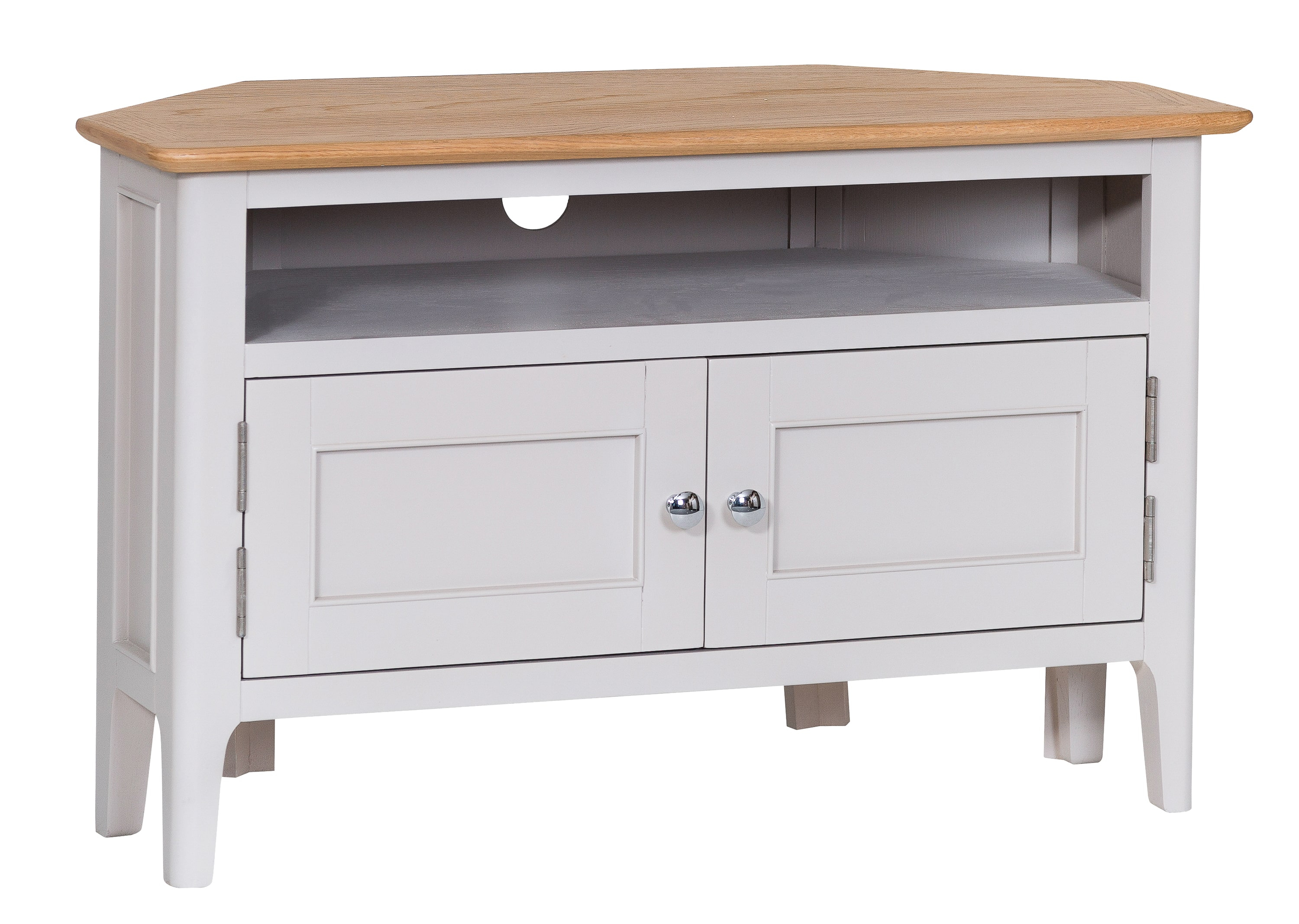 Product photograph showing Diego Oak And Grey Corner Tv Unit