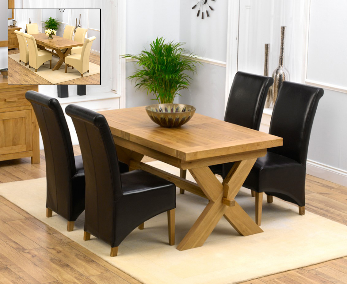 Bordeaux 200cm Solid Oak Extending Dining Table with Kentucky Chairs