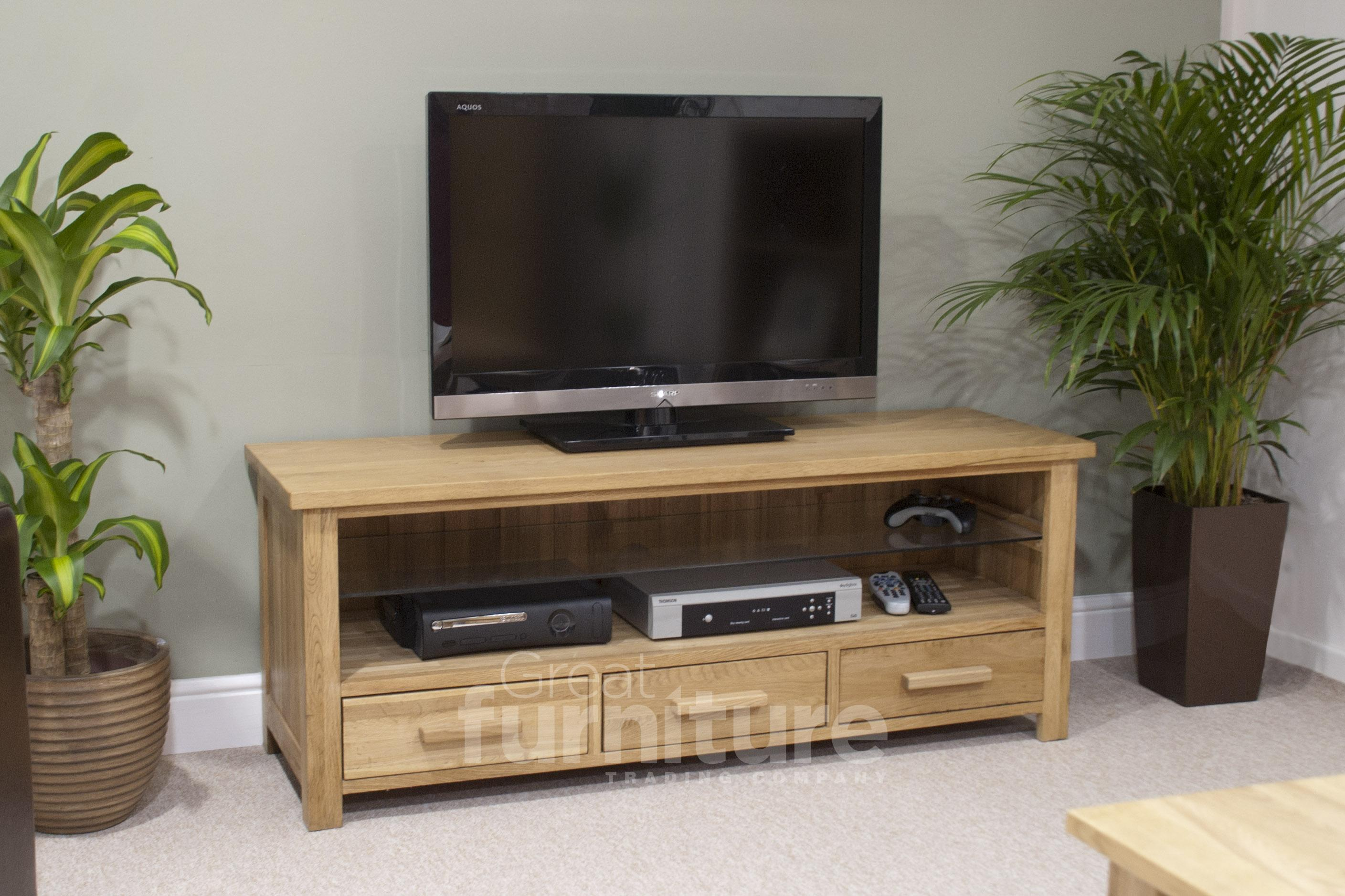 Opus 130cm Oak Widescreen TV Unit