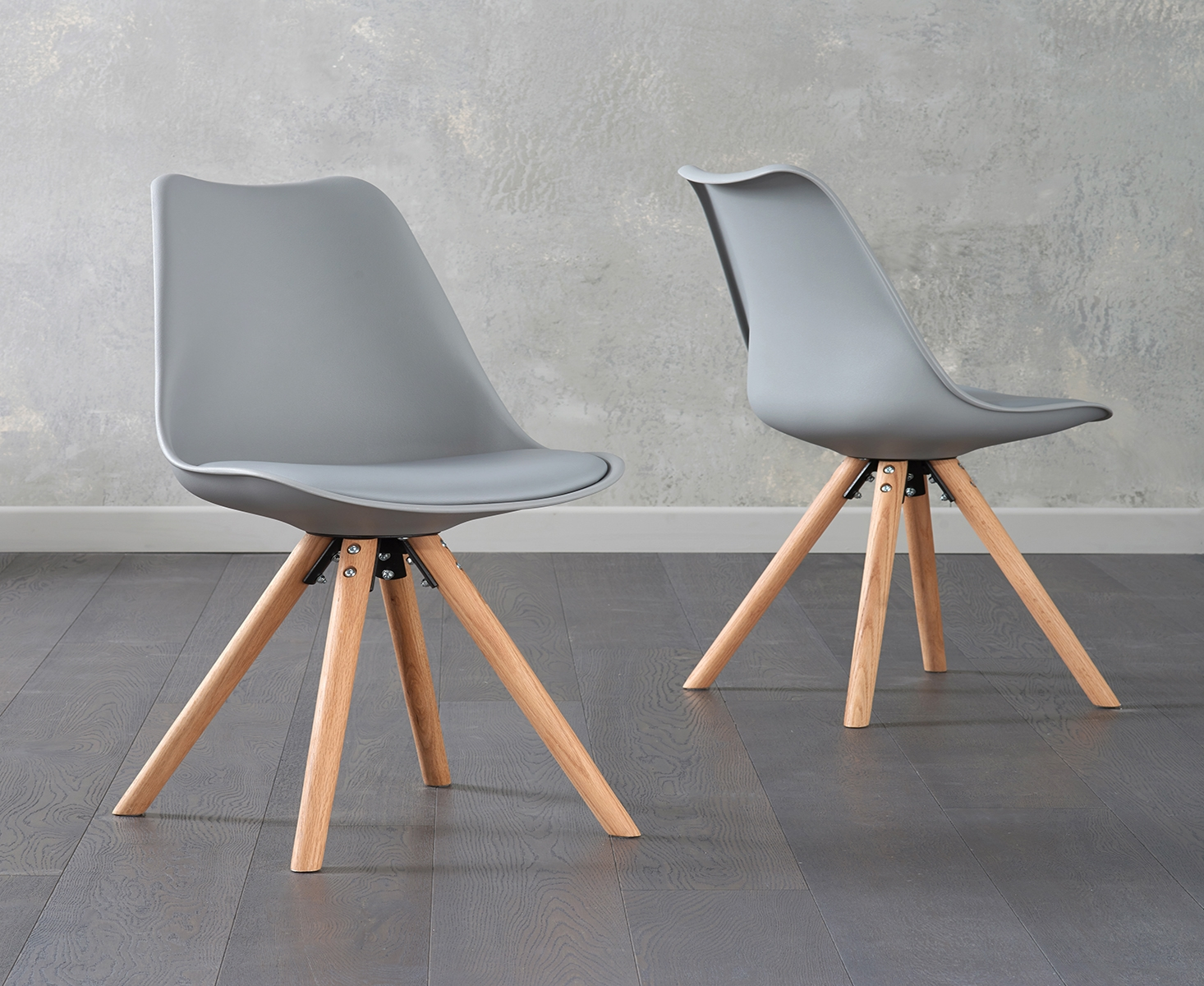 An image of Ophelia Light Grey Faux Leather Round Leg Chairs (Pairs)