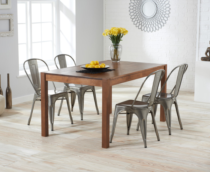 Oxford 120cm Dark Oak Dining Table with Tolix Industrial Style Dining Chairs