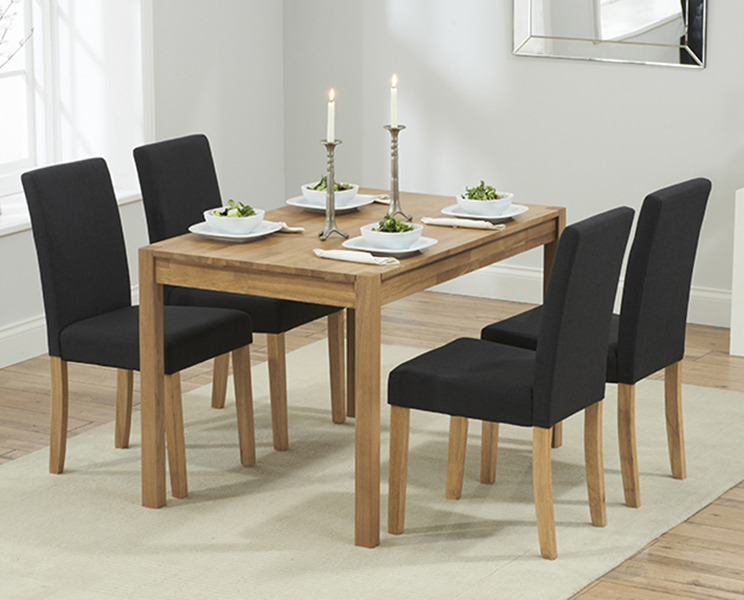 Oxford 120cm Solid Oak Dining Table with Black Mia Fabric Chairs