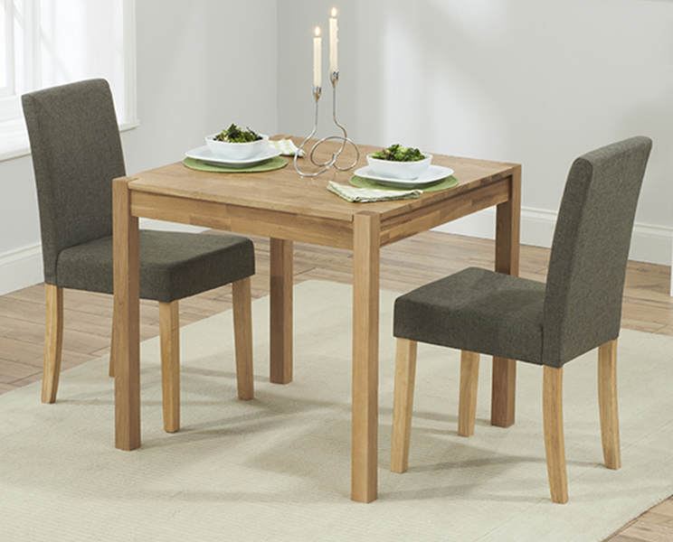 Oxford 80cm Solid Oak Dining Table with Brown Mia Fabric Chairs