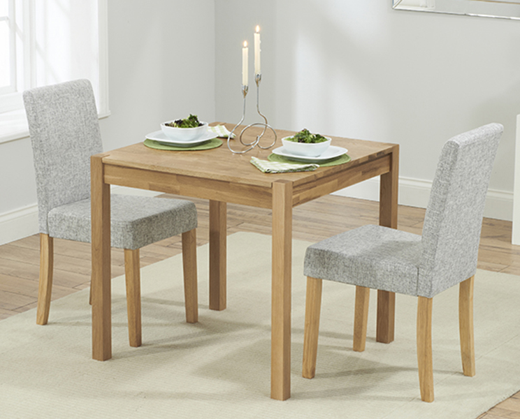 Product photograph showing Oxford 80cm Solid Oak Dining Table With Grey Mia Fabric Chairs