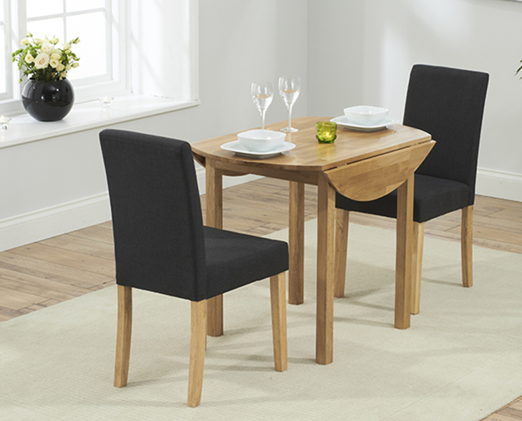 Oxford 90cm Solid Oak Extending Dining Table with Black Mia Chairs