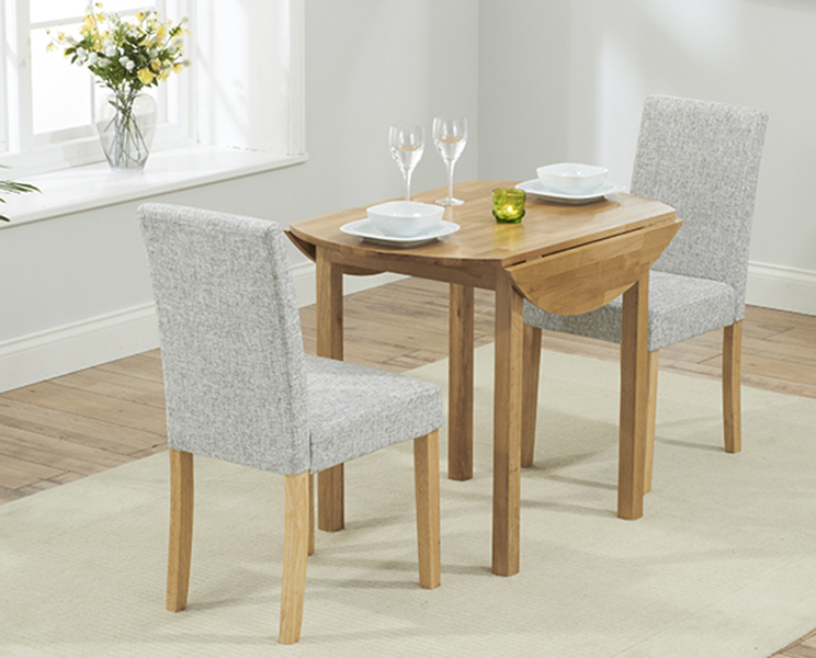 Oxford 90cm Solid Oak Extending Dining Table with Grey Mia Chairs