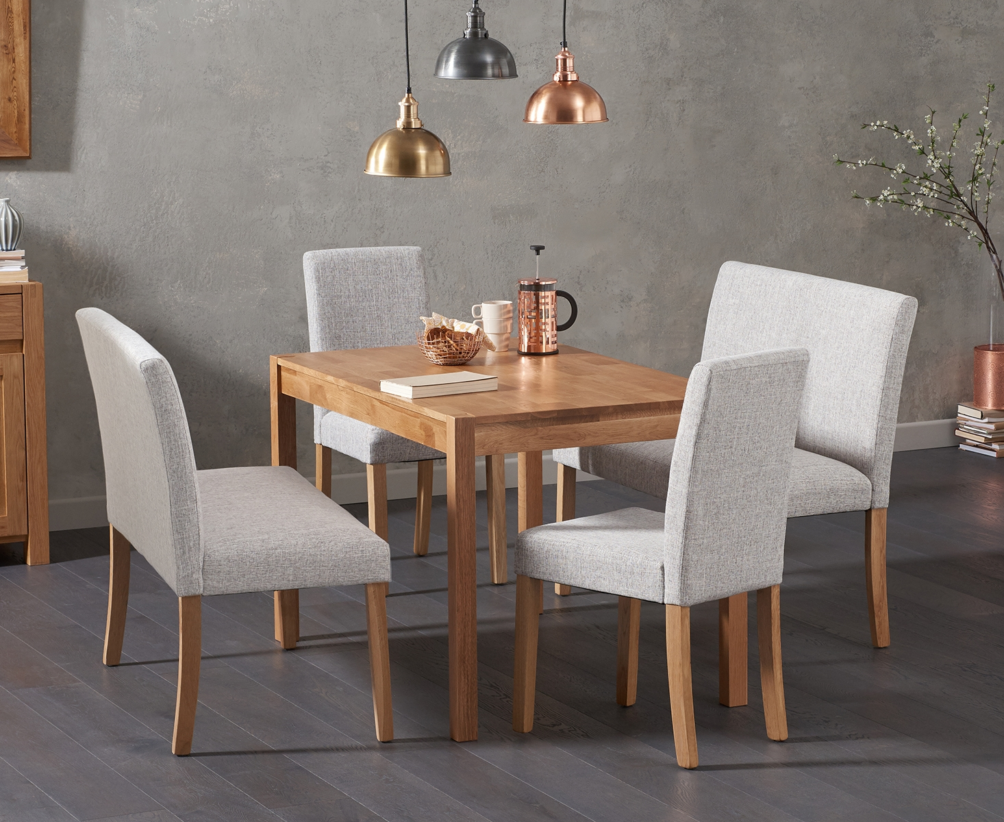An image of Oxford 150cm Solid Oak Dining Table with Mia Grey Benches with Backs and Mia Cha...