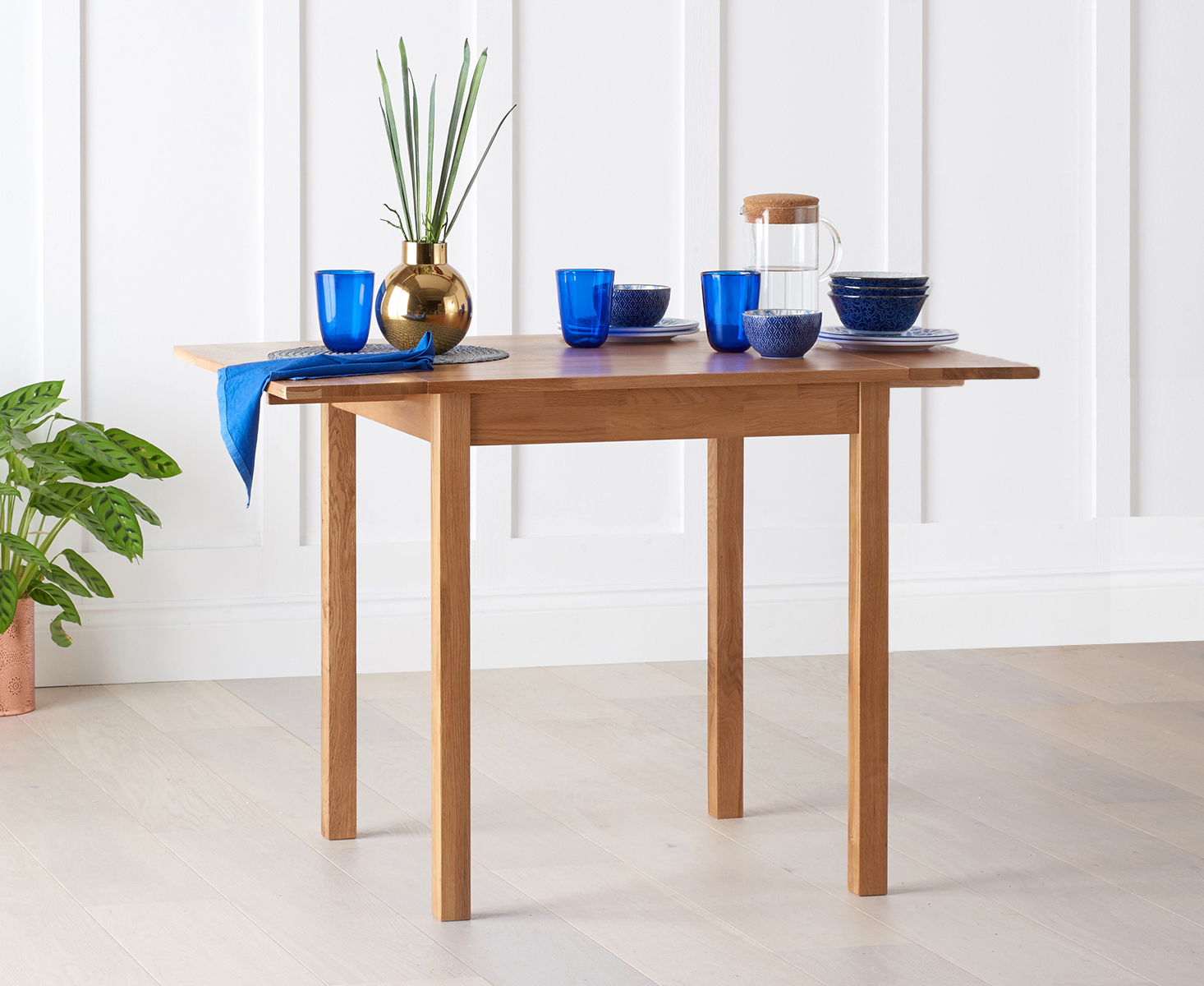 Product photograph showing Oxford 70cm Solid Oak Extending Dining Table