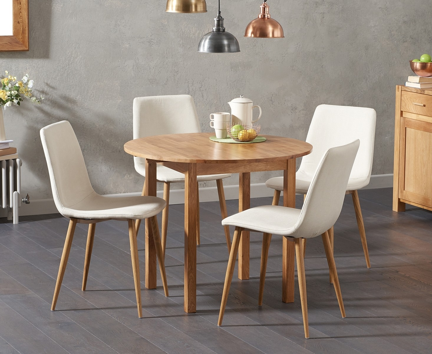 Oxford 90cm Solid Oak Drop Leaf Extending Dining Table with Hamburg Fabric Chairs