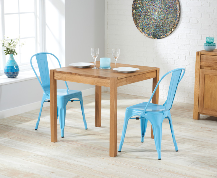 Oxford 80cm Solid Oak Dining Table with Tolix Industrial Style Dining Chairs