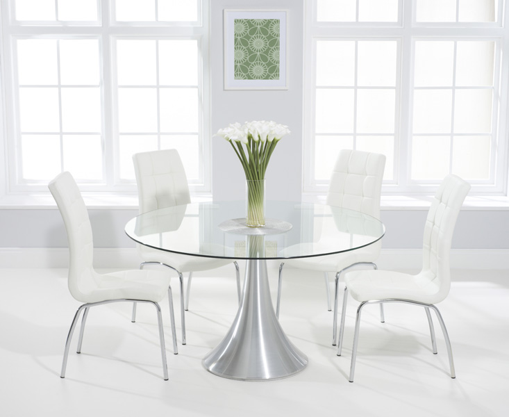 Paloma 135cm Round Glass Dining Table with Calgary Chairs
