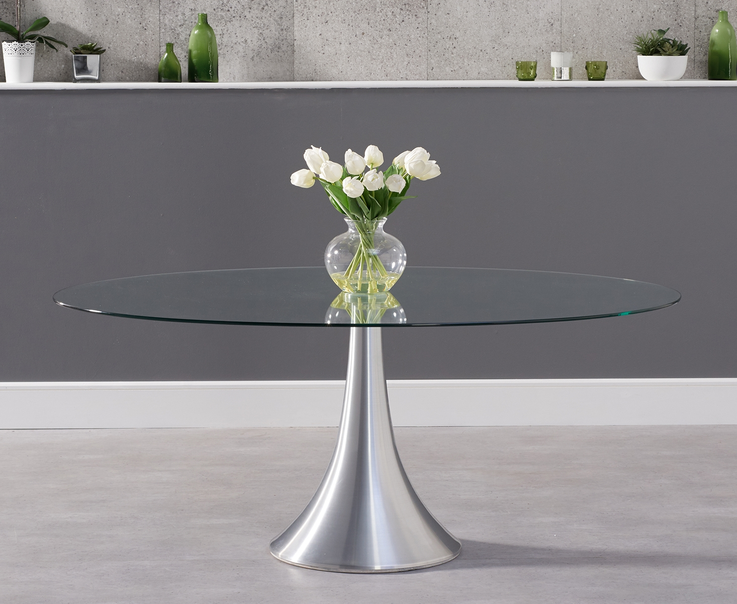 An image of Petra 180cm Oval Glass Dining Table