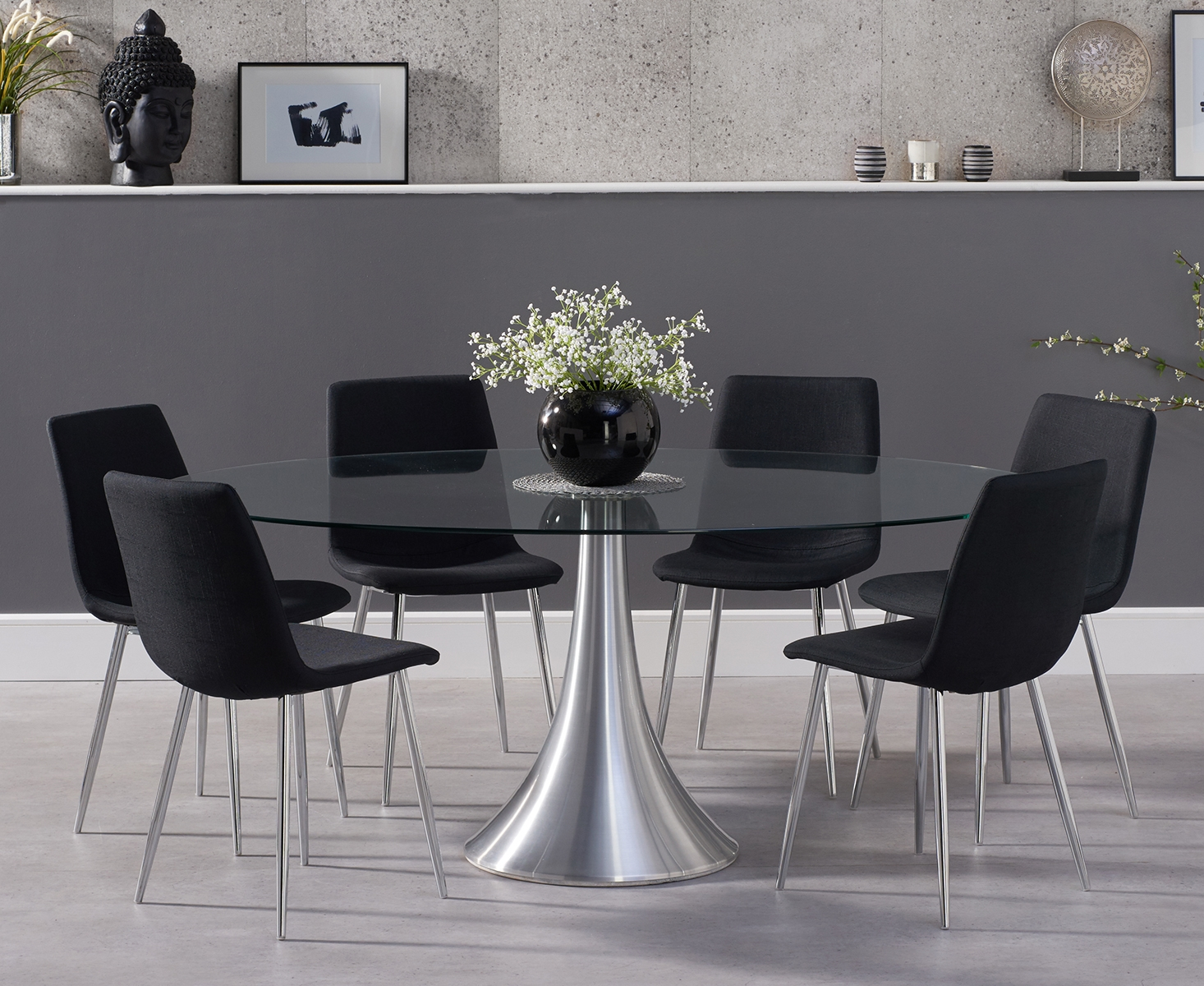 Photo of Petra 180cm oval glass dining table with hamburg fabric chrome leg chairs