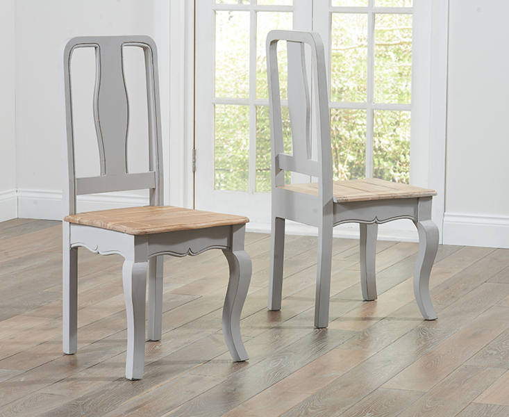 Product photograph showing Parisian Grey Shabby Chic Dining Chairs Pairs