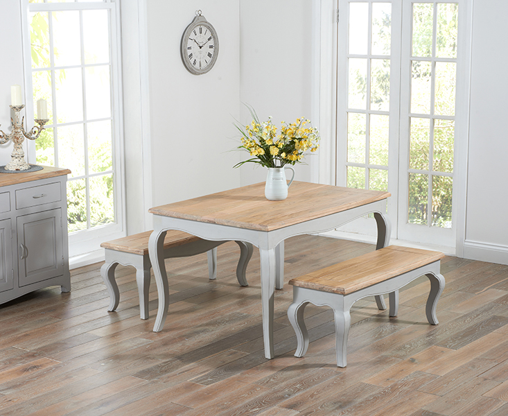 Parisian 130cm Grey Shabby Chic Dining Table with Benches