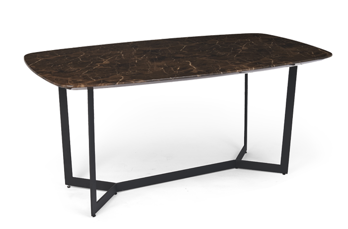 Brown Marble Effect Dining table with iron legs