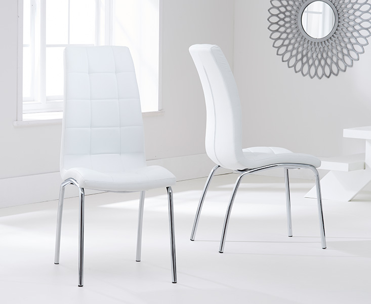 Product photograph showing Calgary Ivory White Chairs Pairs