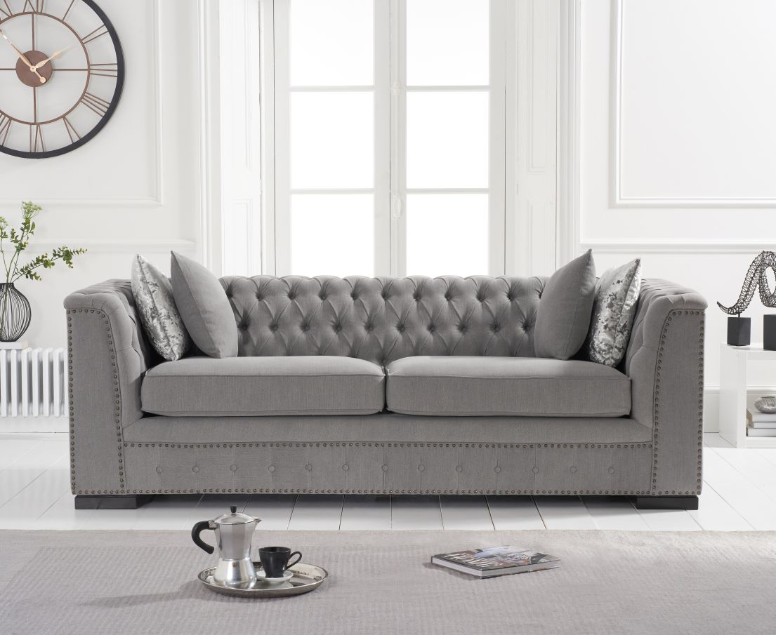 Product photograph showing Pedro Grey Linen 3 Seater Sofa