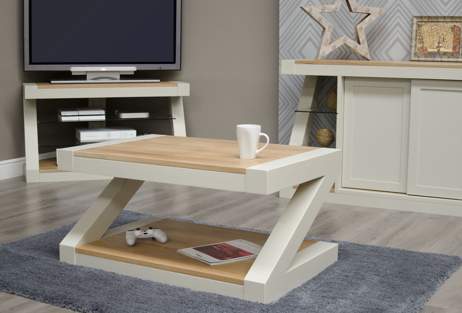Product photograph showing Z Painted Coffee Table With Natural Oak Top