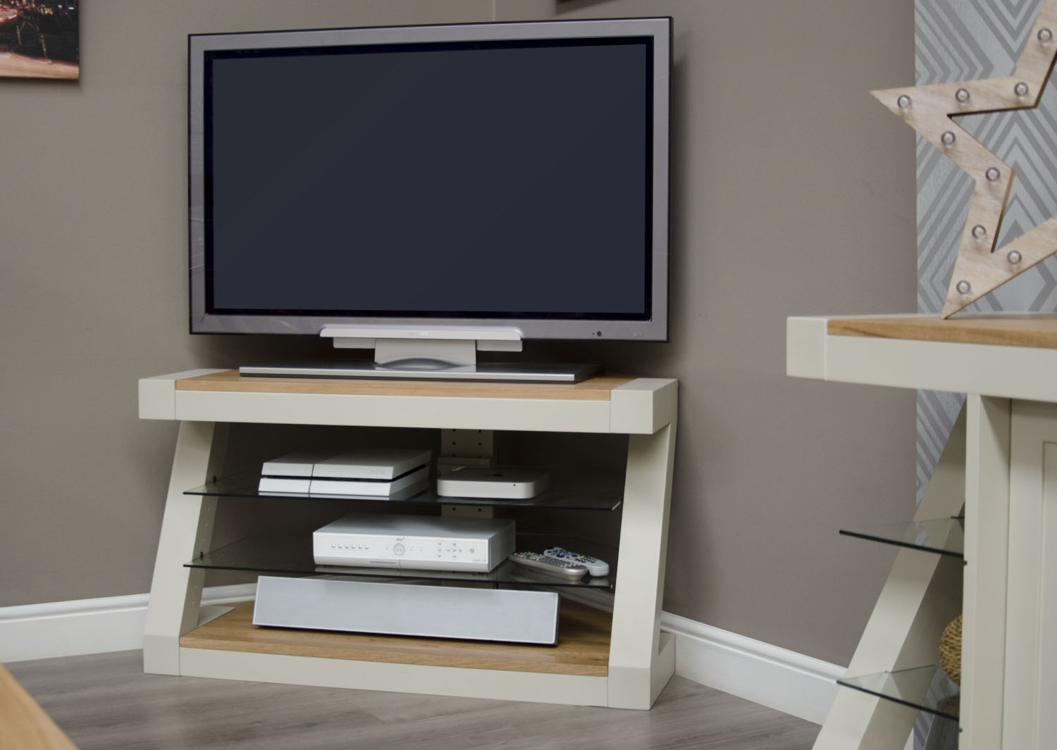 Product photograph showing Z Painted Corner Tv Unit With Natural Oak Top