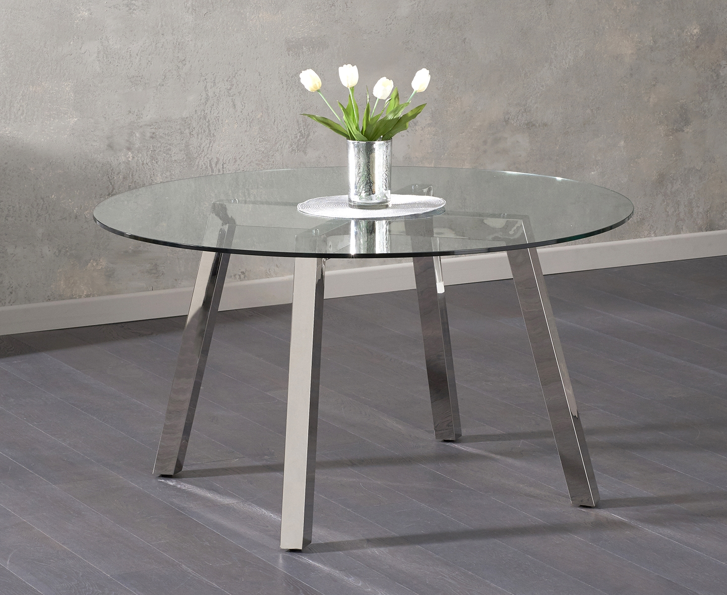 Reagan Round Glass Dining Table