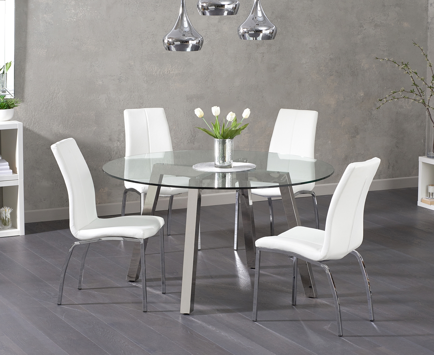 Reagan Round Glass Dining Table with Cavello Chairs