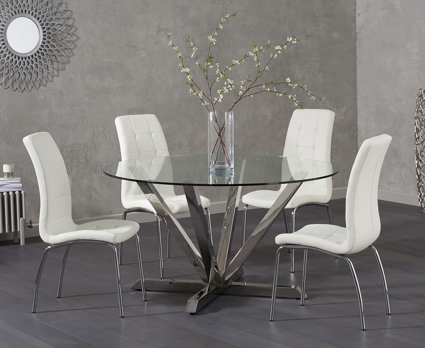 Ray Round Glass Dining Table with Calgary Chairs