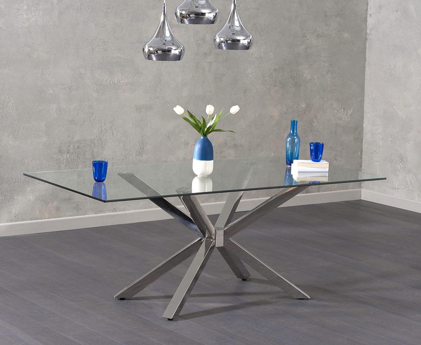 An image of Rein 200cm Glass Dining Table