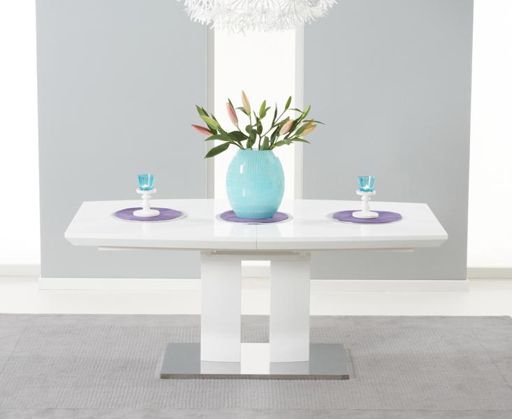 Richmond 180cm White High Gloss Extending Dining Table