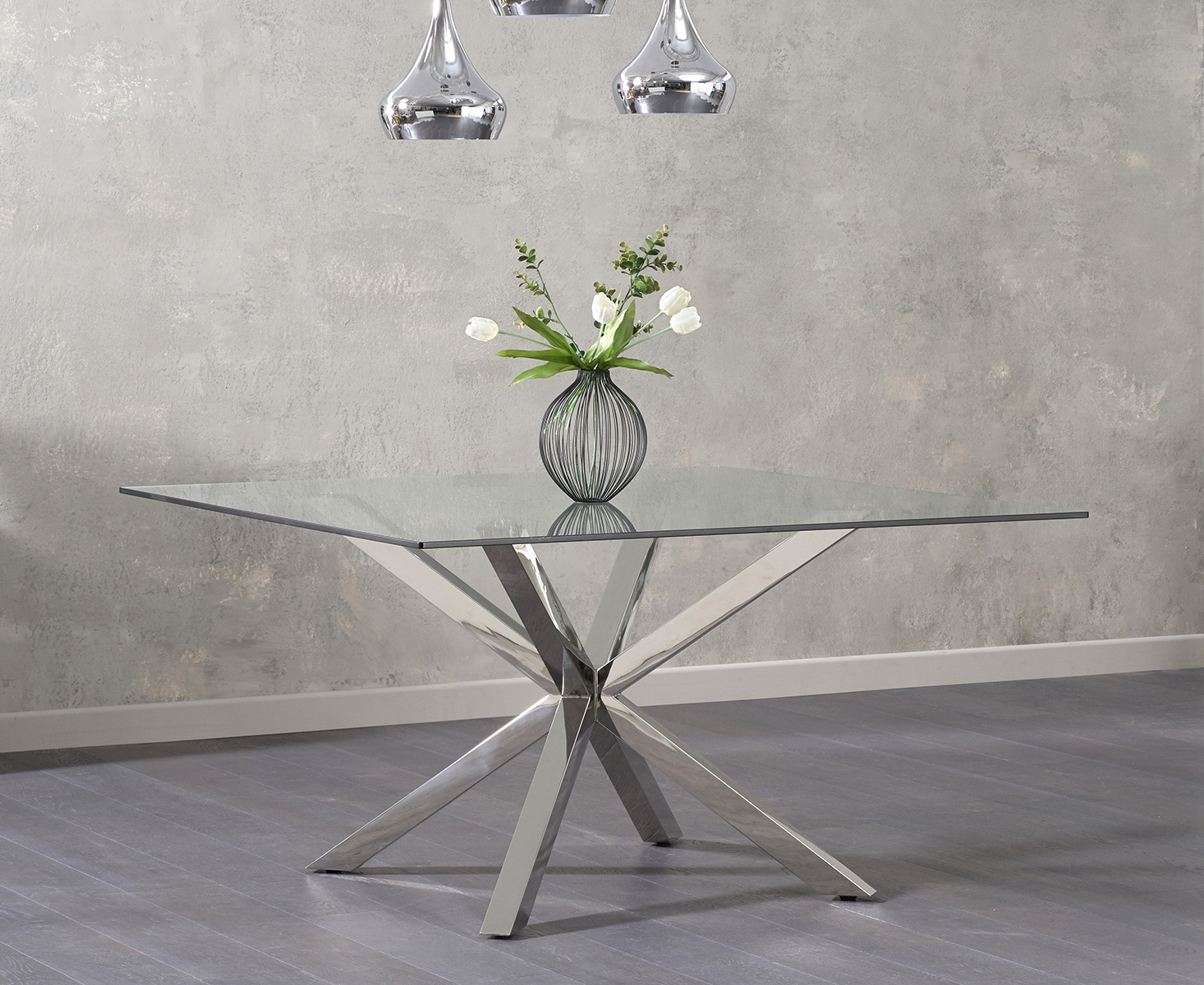 An image of Reiner Square Glass Dining Table
