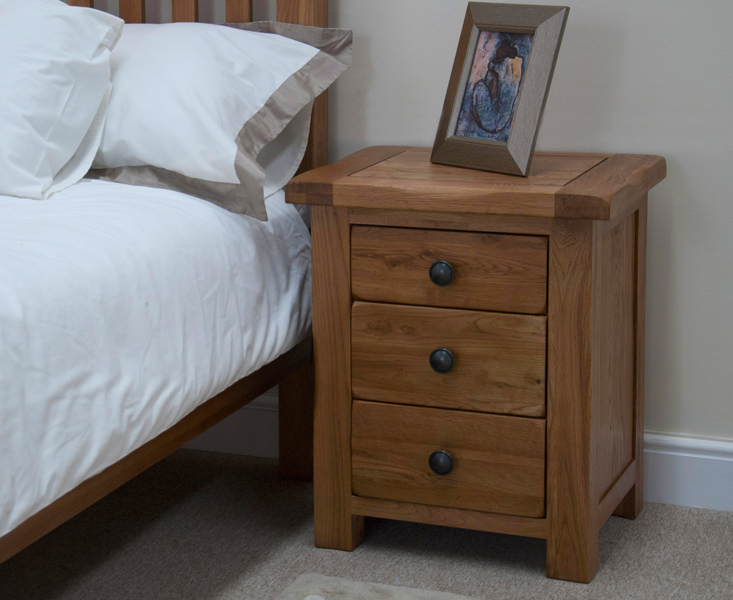 Rustic Oak 3 Drawer Bedside Chest