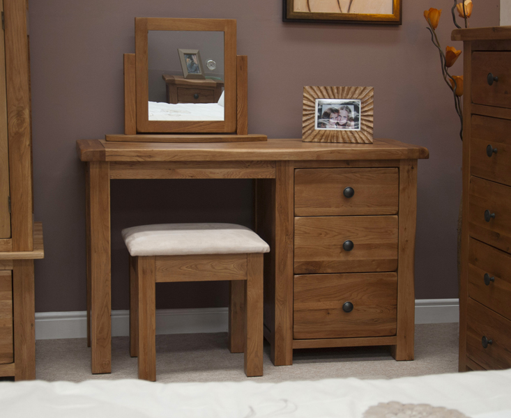 Rustic Oak Dressing Table with Stool