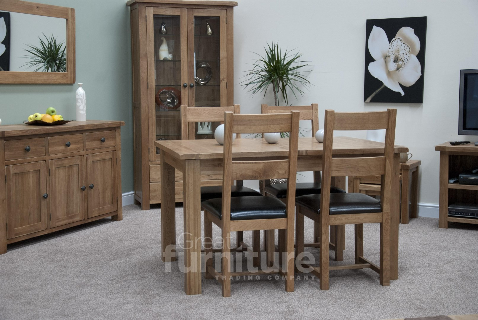 Rustic Oak Extending Dining Table with Dining Chairs